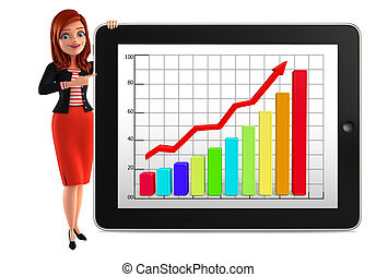Young Corporate lady with business graph - Illustration of ...