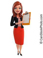 Illustration of corporate lady with notepad