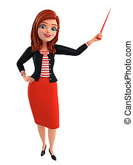 Young Corporate lady with stick - Illustration of corporate...