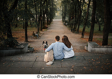 young couple and a dog sitting in the park, rear view