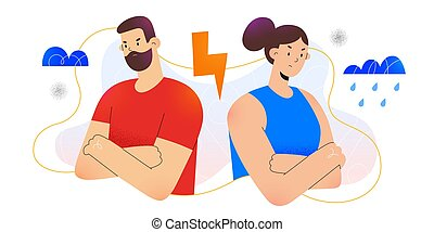 Young couple argue, woman and man having a quarrel, family conflict concept, angry girl turns her back on boyfriend, break in relationship, flat cartoon illustration, vector characters