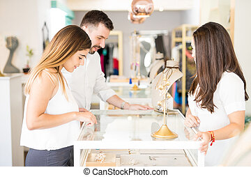 Young couple at a jewelry store