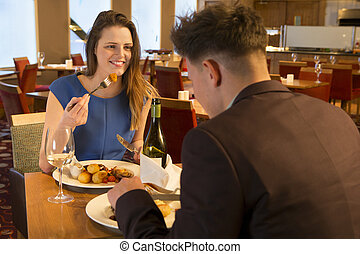 Young couple at a restaurant