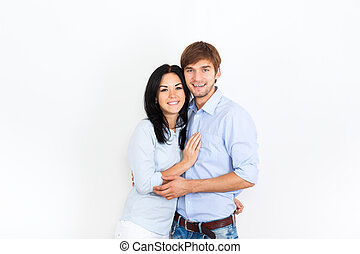 young couple at home wall