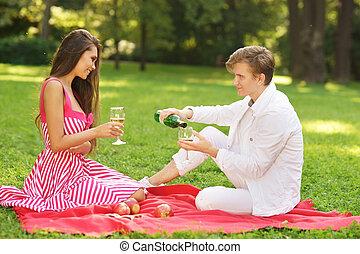 young couple at picnic
