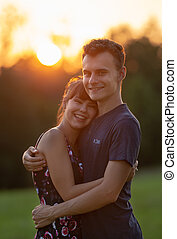 Young couple at sunset
