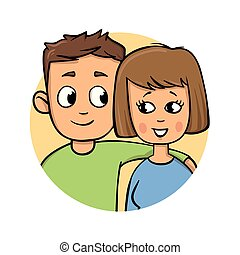 Young couple. Boy resting his hand on girl's shoulder. Cartoon design icon. Colorful flat vector illustration. Isolated on white background.