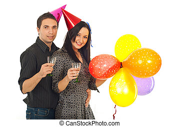 Young couple celebrating