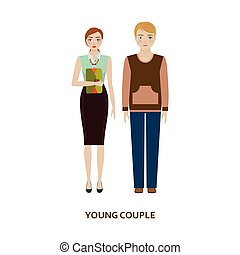 Young couple character. Family without children. Cartoon...