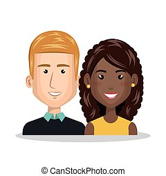 young couple characters icon