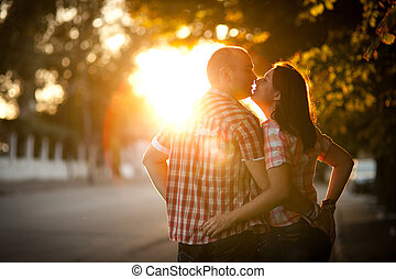 young couple, city, sunset