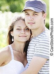 Young couple closeup