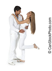 Young couple dancing and have fun