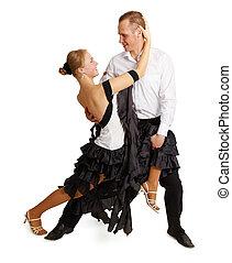 Young couple dancing ballroom dance