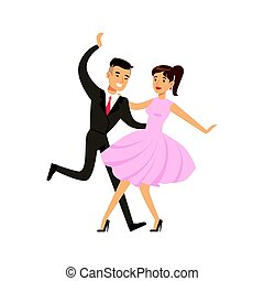 Young couple dancing boogie woogie dance colorful character vector Illustration isolated on a white background