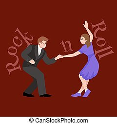 Young couple dancing lindy hop or swing in a formation, man and woman Rock and Roll dancing, vector illustration, isolated, people girl and boy have fun on party
