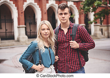 Young couple dating in college