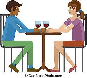 Young Couple Dinner Wine Restaurant Cartoon