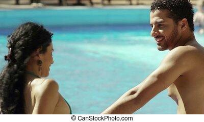 young couple doing honeymoon