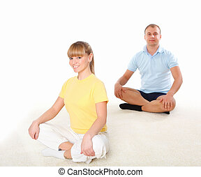 young couple doing sport together
