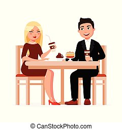 Young Couple drinks coffee with desserts at the cafe having coffee break and chatting vector flat illustration. Man and woman having breakfast at the restaurant isolated on white background.