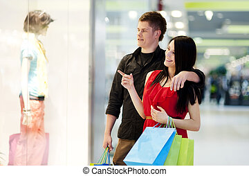 Young couple during shopping