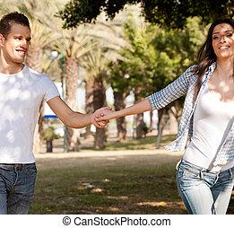 Young couple enjoying