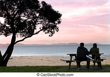 Young couple enjoys the sunset