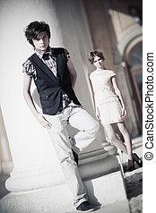 Young couple fashion. Camera angle view.