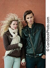 Young couple fashion portrait