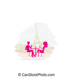 Young couple flirt in Paris