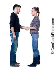 Young couple hand shake.