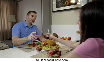 Young couple having a dinner together