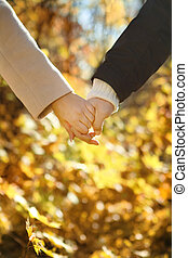 Young couple holding hands in the autumn forest