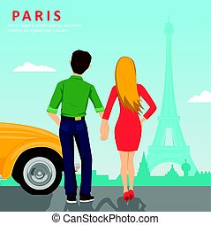Young couple holding hands standing next to yellow car looking at Eiffel Tower in Paris