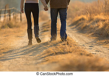 young couple holding hands walking on autumn path - young...
