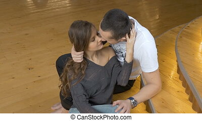 Young couple hugging, affection and romance