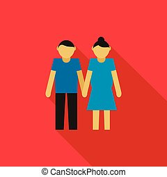 Young couple icon, flat style