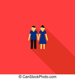 Young couple icon in flat style
