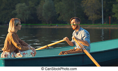 Young couple in a boat