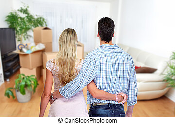Young couple in a new house.