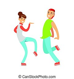 Young couple in casual clothes dancing colorful character vector Illustration