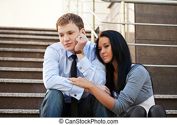 Young couple in depression