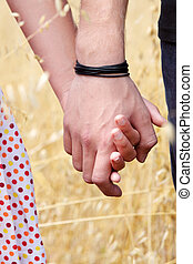 couple in grain field