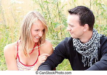 couple in grain field