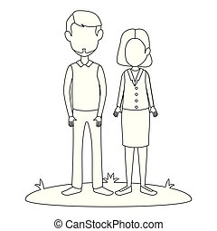 young couple in grass avatars characters vector illustration...