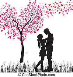 Man and woman in love. Valentine day background. Young Couple under the heart tree. Isolated on white.