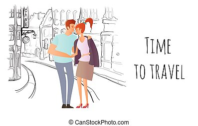 Young couple in love. Man and woman on a romantic date in the street of the old town. Vector illustration.
