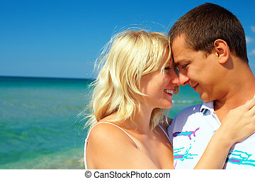 young couple in love on honeymoon