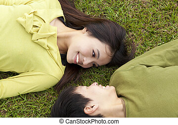 Young  couple in love on the meadow